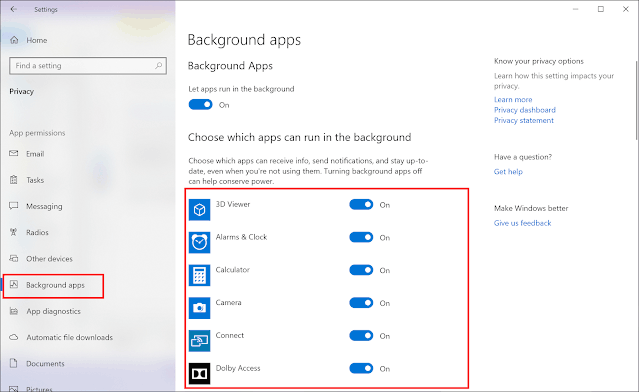 Stopping apps from running in the background
