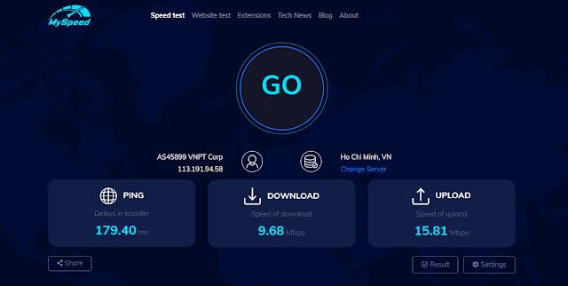 Speed check of internet