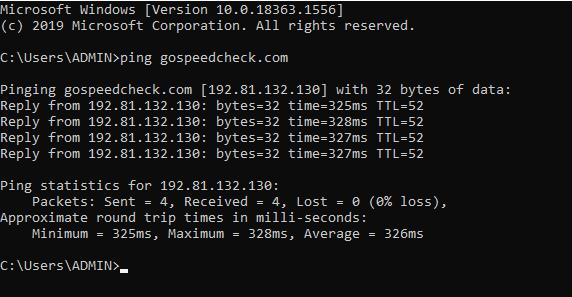 Check internet speed in CMD