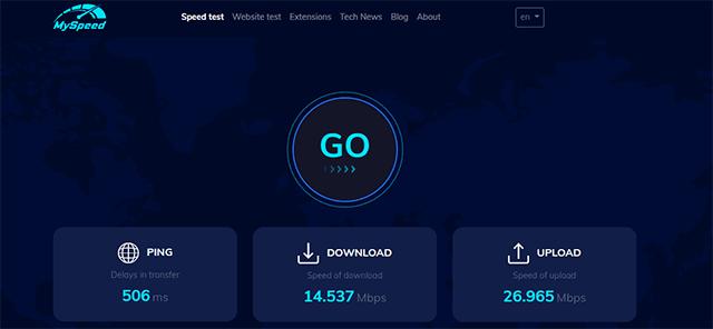 Ping speed test on MySpeed