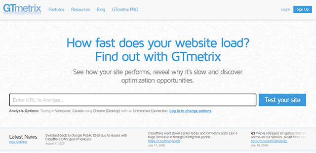website test 2020